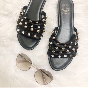 Guess Black Studded Sandals Size 8.5